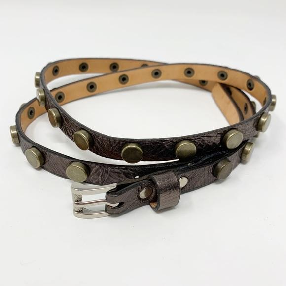 Brave Accessories - Brave | Skinny Leather Stud Belt Pewter Metallic